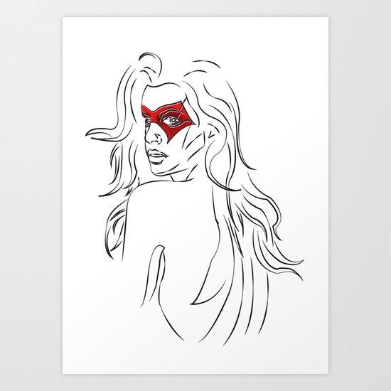 Masked Woman Art Print