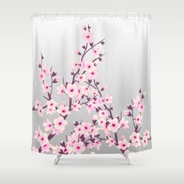 Cherry Blossoms Pink Gray Shower Curtain