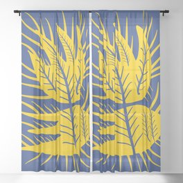 Swedish Yellow and Blue Design Flower Sheer Curtain
