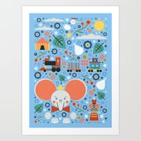 dumbo Art Prints featuring Dumbo by Carly Watts