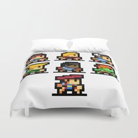 street fighter Duvet Covers featuring Minimalistic - Street Fighter - Pixel Art by Davit Masia