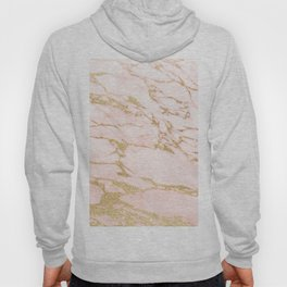 Blush pink abstract gold glitter marble Hoody