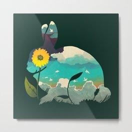 Rabbit Sky - (Forest Green) Metal Print