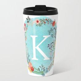 Personalized Monogram Initial Letter K Blue Watercolor Flower Wreath Artwork Travel Mug