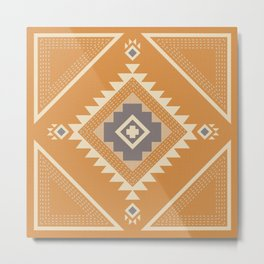 Modern Western Pattern in Butterscotch and Frost Gray Metal Print