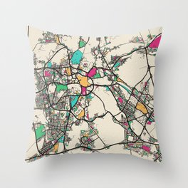 Colorful City Maps: Mecca, Saudi Arabia Throw Pillow