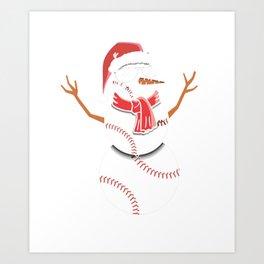 Christmas in July Summer Baseball Snowman Party Gift Art Print