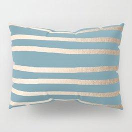 Abstract Drawn Stripes Gold Tropical Ocean Blue Pillow Sham