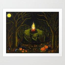 Halloween Bonfire Art Print