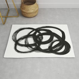 Circle Spirals Black & White Minimalist Ink Tribal Mid Century Pattern Dark Painting Pattern Rug