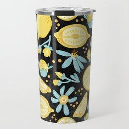 Lemon Pattern Black Travel Mug