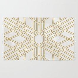 Golden stars on cream marble Rug
