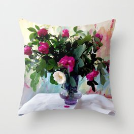 Rose Vase Still Life Throw Pillow