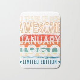 60 Years Of Being Awesome January 1960 Limited Edition T-Shirt Design Retro 60th Birthday Gift Mens Bath Mat