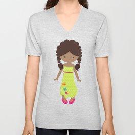 African American Girl, Fashion Girl, Green Dress Unisex V-Neck