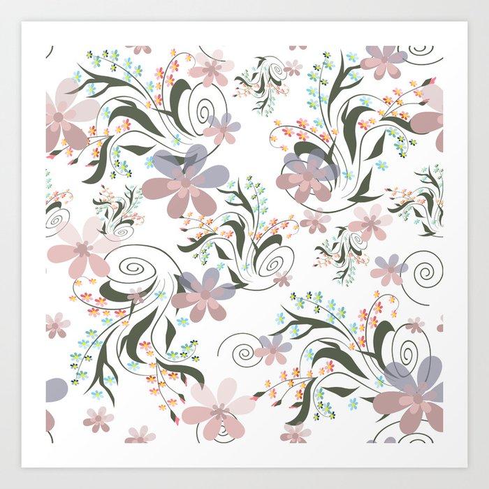 Pink blue flowers .22 Art Print