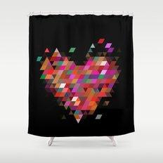 Heart1 Black Shower Curtain