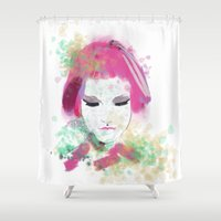 water colour Shower Curtains featuring water colour lady by rebeccalbe