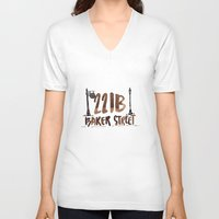 221b V-neck T-shirts featuring 221B Baker Street by AliceInWonderbookland