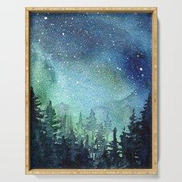 Galaxy Watercolor Aurora Borealis Painting Serving Tray