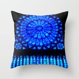 Notre Dame Stained Glass Throw Pillow