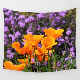 Poppies And Purple Lantana Wall Tapestry