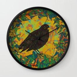Blackbird and Ivy Wall Clock