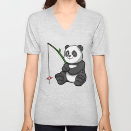 Panda at Fishing with Bamboo Fishing rod Unisex V-Neck