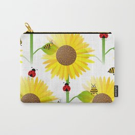 Sunflowers And Bees Carry-All Pouch