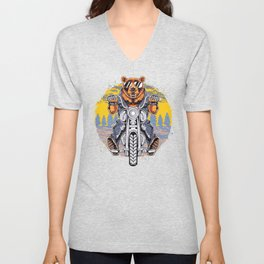 Cool Bear Motorcycle Rider on Bike for Motorcycle and Bear Lover Unisex V-Neck
