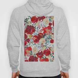 Red teal hand painted boho watercolor roses floral Hoody