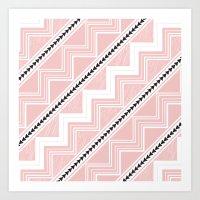 Pink Triangles Aztec Art Print
