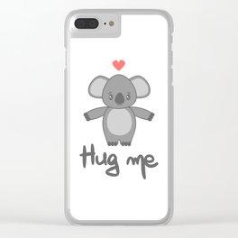 cute hand drawn lettering hug me with cartoon lovely koala bear Clear iPhone Case