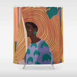 Woman in hat - summer hide Shower Curtain