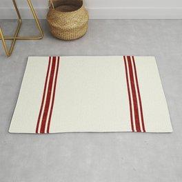 Red on Creme Grainsack wide stripes Rug