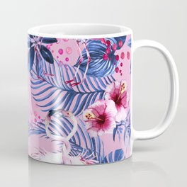 watercolor illustration of a tropical leaf and a pink flamingo watercolor illustration Coffee Mug