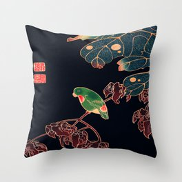 Paroquet Traditional Japanese Wildlife Throw Pillow