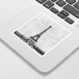Eiffel tower, Paris France in black and white with painterly effect Sticker