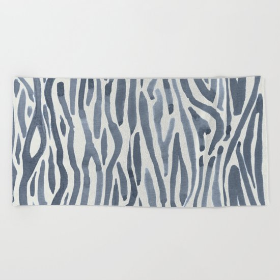 Simply Bonsai Lines in Green Tea and Lunar Gray Beach Towel