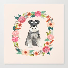 schnauzer floral wreath dog breed pet portrait dog mom Canvas Print