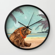 Beach Bear Wall Clock