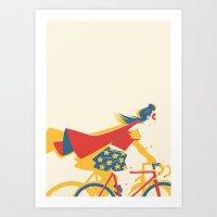superheroes Art Prints featuring Superheroes SF by Matt Taylor