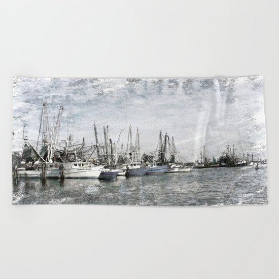 Pass Christian Harbor Sketch Photo Beach Towel