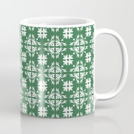 Green & White Floral Tile Pattern Coffee Mug