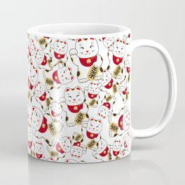 Good luck cat pattern/ red Maneki-neko Coffee Mug