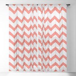 Chevron Living Coral Sheer Curtain
