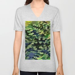 Foliage Abstract Pop Art In Green and Blue Unisex V-Neck