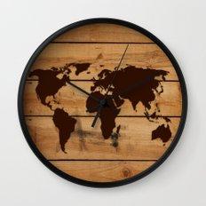 map world wood Wall Clock