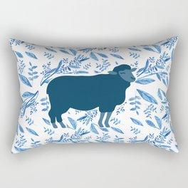 Sheep on floral pattern Rectangular Pillow