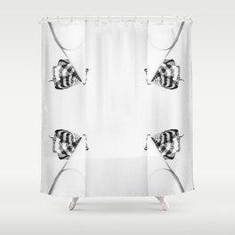 4 flag poles, black and white Shower Curtain